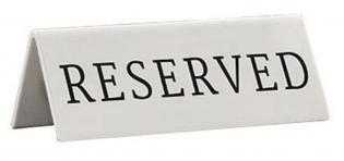 Rezervační tabulka 5ks anglicky