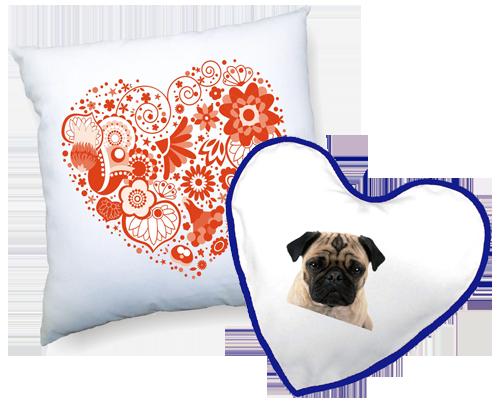 Potisk polštářů - Potisk bílých polštářů, čtvercových nebo ve tvaru srdce s modrým nebo červeným lemem